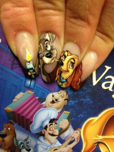 Nail Art - Unghie numero uno a Viterbo.  Lilli e il Vagabondo - puro romanticismo.  Lady and the Tramp - pure romance