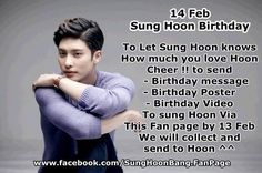 [ ACTIVITY ] 14 Feb. Sung Hoon #Birthday Hello Fans of #SungHoon@bbangsh83#성훈 To tell Sung Hoon How much you love him CHEER to send  - Birthday message /  - Birthday poster /  - Birthday Video