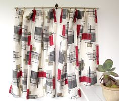 vintage 1950s curtains. barkcloth - atomic Luncheonettevintage, etsy