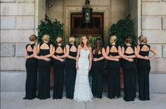 We got your back! Love this real Vow wedding bridal party shot of our bride, Kara, and her bridesmaids in Nicole Miller. Rent the look with Vow To Be Chic.