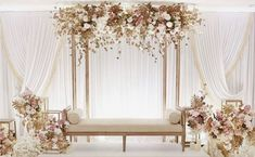 wedding design / furniture rentals White wedding with a minimalist touch of gold and blush pink isn't it stunning and gorgeous 9987874663 reception backdrop wedding design / furniture rentals Wedding Stage Decorations, Wedding Backdrop Design, Wedding Stage Design, Wedding Reception Backdrop, Backdrop Decorations, Wedding Designs, Engagement Decorations, Decor Wedding, Reception Ideas