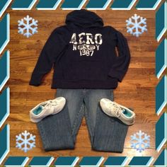 Aeropostale sweatshirt. Navy Blue Aeropostale hooded sweatshirt. Distressed hems. Aeropostale Jackets & Coats
