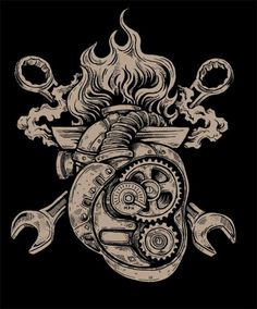Mechanical heart with gas tools would be a good chest cover up