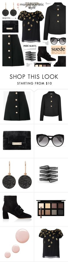 """Monochrome: All Black Everything"" by anyasdesigns ❤ liked on Polyvore featuring Miu Miu, Alexander McQueen, Astley Clarke, Lynn Ban, Down to Earth, Topshop and Oscar de la Renta"