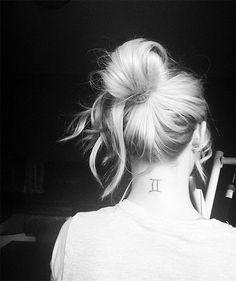 small Gemini sign neck tattoo