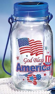"Solar Lighted Mason Jar Lantern God Bless America Patriotic Decoration 7-1/4""H"