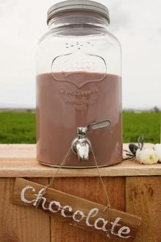 Chocolate Milk... not in 85 degree weather.  But I DO love the idea of the wooden label hanging on the spout!