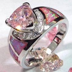 Pink Topaz And Fire Opal Silver Plated Ring.......