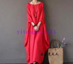 Women's Casual Vintage Lantern Maxi Dress Loose 100% Linen Plus size Dresses New