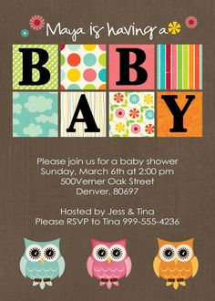 baby shower invites ! love the owls..I'm doing this for Kelly....