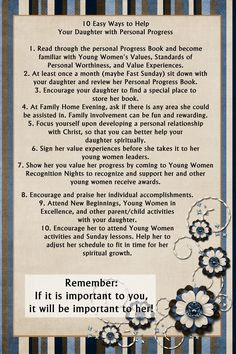 YW in Excellence 2012 Mother/Daughter Personal Progress Workshop - 10 ways for moms to help with personal progress