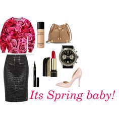 Spring fashion by spreemag on Polyvore featuring Moschino Cheap & Chic, Charlotte Olympia, Vince Camuto, Breitling, Lancôme, Bare Escentuals and Napoleon Perdis