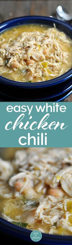 White Chicken Chili makes a delicious meal full of spicy chili flavor, white beans and chicken. You\'ll love this easy White Chicken Chili recipe. // addapinch.com