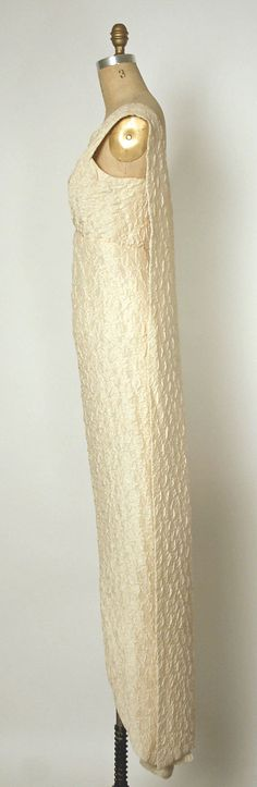 Evening dress House of Balenciaga  (French, founded 1937) Designer: Cristobal Balenciaga (Spanish, 1895–1972) Date: 1960–63 Culture: French Medium: silk Dimensions: Length: 65 in. (165.1 cm) Credit Line: Gift of Florence Van Der Kemp, 1975