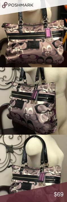 Authentic COACH Daisy No. M1294-F22961  Large Tote COACH Daisy #F22961 Large Tote!!  This is a multi purple COACH Tote.  COACH~Daisy Optic Print Multi Tote M1294-F22961   Condition: Good used condition from smoke free and pet free environment. Normal wear from use and age.   MSRP: $298.00 Coach Bags Shoulder Bags