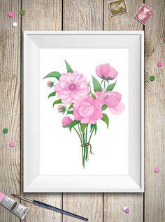 Stampa di un acquarello con bellissime peonie rosa, utilizzala per decorare le tue pareti o fare un bel regalo per la festa della mamma! E