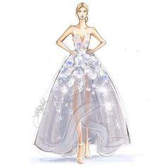 Sketched this with @copicmarker and @procreateapp. @karolinakurkova wears a @marchesafashion X @ibm LED gown that illuminates based on her follower's tweets. Incredible. #met #karolinakurkova #fashionsketch #fashionillustration #metgala