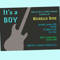 Guitar Rock Star Baby Shower Invitation - Boy - Printable - 5x7 - Electric Guitar, matches Michael Miller Groovy Guitars fabric, by GoodHueDesigns