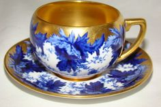 Antique Coalport Blue Leaf Heavy Gold Demitasse Cup Saucer