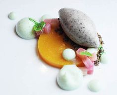 Apricot Puree, Buckwheat Ice Cream, Pickled Rhubarb & Green Tea Foam.  A creation by WD-50.