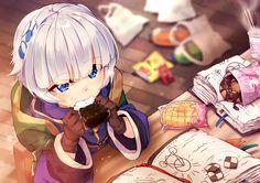 blue_eyes book drink food gloves hoodie hyanna-natsu meteora_osterreich pocky re:creators short_hair white_hair