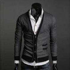 Fashionable Fit Slimming V-Neckline Long Sleeves Wool Flock Cardigan For Men (GREY/GRAY,M) China Wholesale - Sammydress.com