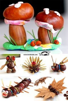 6 New Chestnut, Acorn and Plasticine IDEAS. Easy and fun for kids and for us! Autumn Crafts, Fall Crafts For Kids, Nature Crafts, Projects For Kids, Diy For Kids, Kids Crafts, Diy And Crafts, Autumn Activities, Activities For Kids