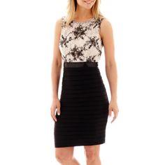 Scarlett Sleeveless Lace-Bodice Shutter Sheath Dress    found at @JCPenney