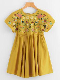 Flower Embroidered Tie Up V Back Smock Dress