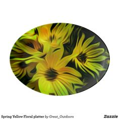 Spring Yellow Floral platter