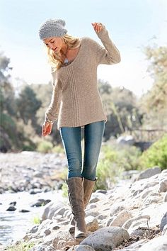 I'm not blonde, nor slim enough to pull it off but I do like this look - Urban Loose Knit Sweater - EziBuy Australia