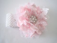 Wrist Corsage Pink with White Lace Pearl Cuff or Three Strand Bracelet Baby Shower Prom Wedding with Pearl Rhinestone Accents. by theraggedyrose on Etsy