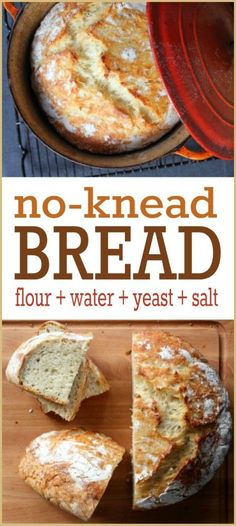 Bread Recipe -- This widely popular no-knead bread recipe is so simple, absolutely ANYONE can make it. We promise!No-Knead Bread Recipe -- This widely popular no-knead bread recipe is so simple, absolutely ANYONE can make it. We promise! Dutch Oven Bread, Dutch Oven Recipes, Easy Bread Recipes, Baking Recipes, Simple Bread Recipe, Recipe Tasty, Recipe Recipe, Chicken Recipes, Knead Bread Recipe