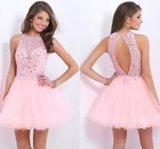 Luxurious Crystal Beaded Backless Short Prom Dresses,Applique Tulle Homecoming Dresses,Sparkly Custom Made Homecoming Party Gowns Light Pink Homecoming Dresses, Hoco Dresses, Dance Dresses, Pretty Dresses, Beautiful Dresses, Evening Dresses, Formal Dresses, Dresses 2016, Illustration Mode