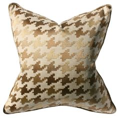 gold houndstooth pillow
