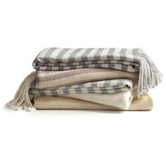 Pure Fiber Striped Bamboo Throw ($150) ❤ liked on Polyvore featuring home, bed & bath, bedding, blankets, throw, linens, fillers, lightweight blanket, light weight blankets and lightweight bedding