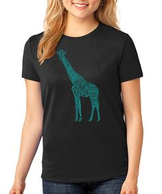 Love this Black & Turquoise Geometric Giraffe Tee - Plus by SignatureTshirts on #zulily! #zulilyfinds