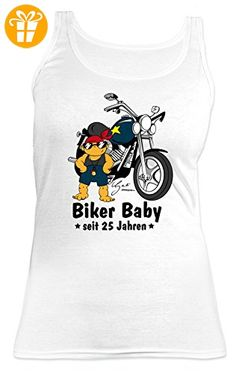 Geburtstags/Jahrgangs/Girlie-Top/Träger-Shirt/ Damen Tank Top: Biker Baby seit 25 Jahren tolles Geschenk (*Partner-Link)