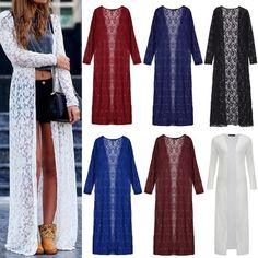 Zanzea Women Lace Floral Long Maxi Dress Boho Cardigan Jacket Coat Kimono Summer #ZANZEA #OtherJackets #Casual
