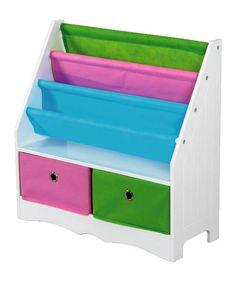 White Two-Drawer Storage Shelf/Book Holder by home basics #zulily #zulilyfinds