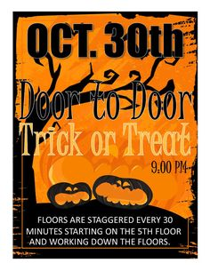 $3.50 download and be done.  Trick or Treat  Program Advertisement flyer for residence hall programs.   Do you feel creative, but are just too busy to create nice looking program flyers?  Check these RA program ideas and downloadable flyers out.  You can change the text to fit your program and then boom, you are back to your regular life!  ra RA resident assistant resident adviser community assistant