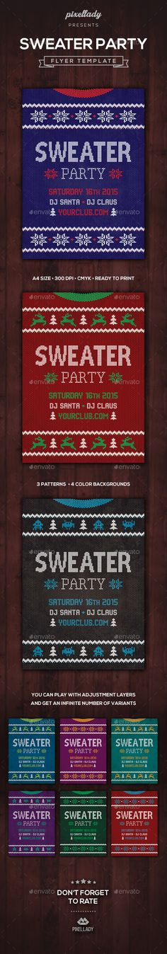 Ugly Sweater Party Flyer Template PSD #design Download: http://graphicriver.net/item/ugly-sweater-party-flyer/13447861?ref=ksioks
