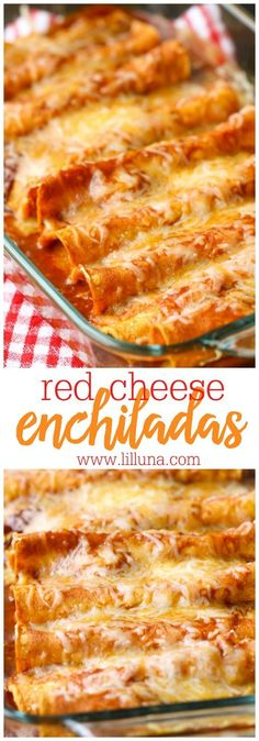 Restaurant-Style Red Cheese Enchiladas - an old family favorite recipe that is simply the best. Corn tortillas filled with cheese, tomato sauce, chile puree, salt & garlic pepper and topped with more (Mexican Recipes Enchiladas) Mexican Dishes, Mexican Food Recipes, New Recipes, Vegetarian Recipes, Cooking Recipes, Favorite Recipes, Recipies, Good Mexican Food, Mexican Cooking