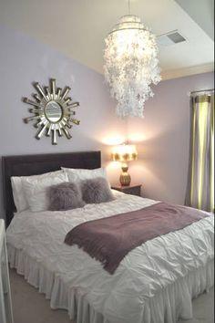 Lavender Teen Girl's bedroom {chandelier}