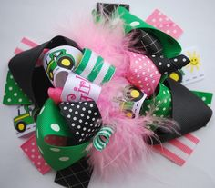 boutique FUNKY fun TRACTOR GIRL hair bow clip by andjane on Etsy, $12.99