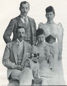 Princess Margaret of Prussia and her husband Prince Friedrich Karl of Hesse-Kassel (seated) with Margaret's sister, Princess Sophie and her husband Constantine I of Greece (standing).