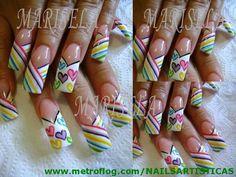 Unas Decoradas Con Esmalte Estilo Sinaloa Otros Mxico Hawaii Fancy Nails Designs, Long Nail Designs, Beautiful Nail Designs, Nail Art Designs, Long Natural Nails, Long Nails, Gel Nails, Acrylic Nails, Flare Nails