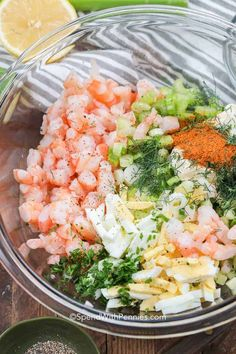 This simple shrimp salad recipe is perfect for summertime. We love making homema… This simple shrimp salad recipe is perfect for summertime. We love making homemade shrimp salad sandwiches when we are enjoying the patio! Sea Food Salad Recipes, Fish Recipes, Seafood Recipes, Dinner Recipes, Cooking Recipes, Cold Shrimp Salad Recipes, Shrimp And Crab Salad, Healthy Snacks, Healthy Eating