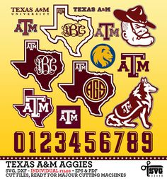 Texas A Amp M Aggies University Football Logo By