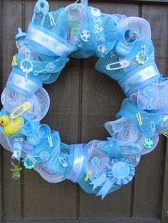 It's a Boy Baby Shower Wreath - change the colours for a baby girl, or unknown